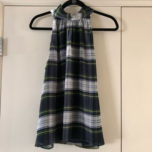 NWT J. Crew Tartan Plaid High Neck Top
